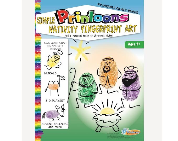 MANGER THUMBPRINT Art,  Nativity DIY, Nativity Fingerprint Digital Download Fingerprint Art Kit, Nativity Worksheets, Manger Worksheets