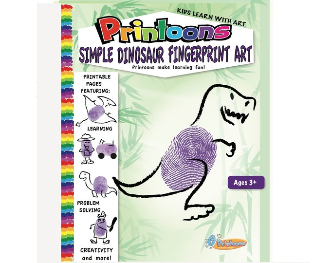 DINOSAUR THUMBPRINT ART, Prehistoric Fingerprint Art, Dinosaur Fingerprint Art Kit, Dino Diy, Dinosaur Worksheets, Dino Art, Caveman Art