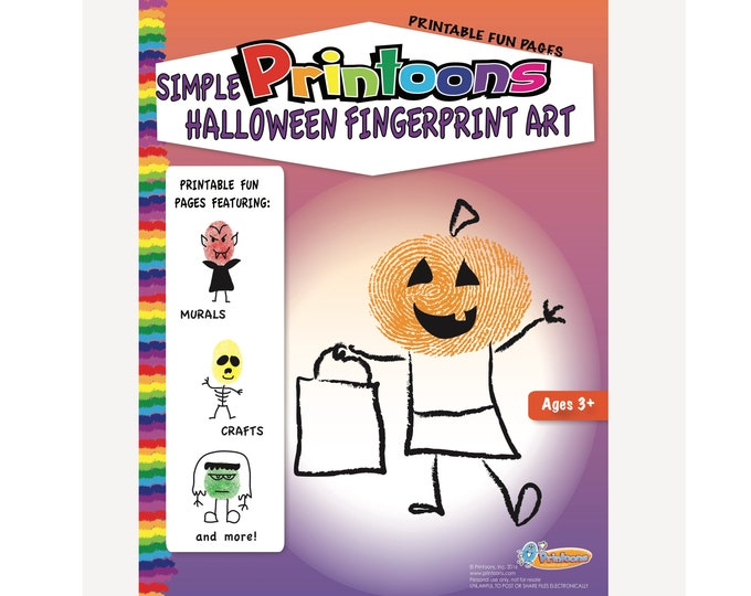 HALLOWEEN THUMBPRINT ART, Halloween Worksheets, Halloween Classroom Party, Halloween Digital Download Fingerprint Art Kit, Halloween Diy