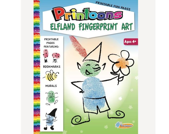 ELF THUMBPRINT ART, Elf Digital Download Fingerprint Art Kit, Elf Worksheets, Elf Art, Diy Elf Fun, Fantasy Diy, Fantasy Fingerprint Art