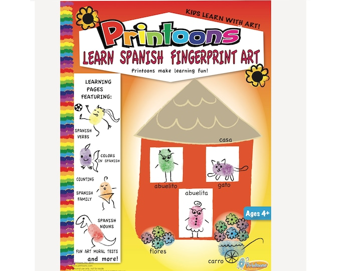 SPANISH LEARNING THUMBPRINT Art, Spanish worksheets, Home School Worksheets, Spanish Fingerprint Art Digital Download Kit, Learn Spanish