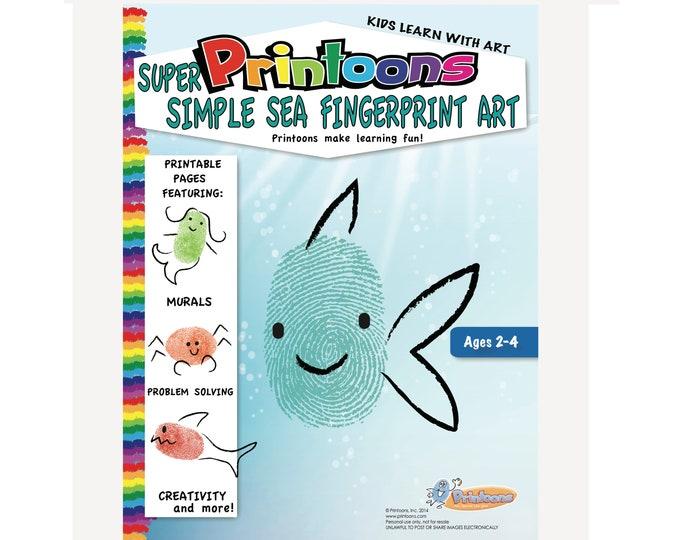 SEA LEARNING THUMBPRINT Art, Under the Sea Fingerprint Art Digital Download Kit, Ocean Diy, Alphabet Worksheets, Preschool Worksheets