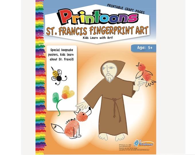 ST FRANCIS POSTERS Fingerprint Art Digital Download Kit, Animal Lover Fingerprint Art, Religious Worksheets, Catholic Saints Worksheets