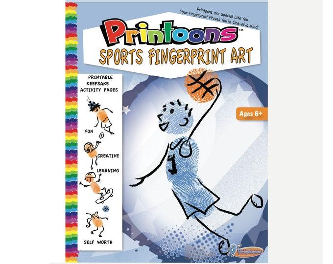 SPORTS TRADING CARDS Fingerprint Art, Sports Worksheets, Sports Diy Craft, Sports Party Fun, Sports Fingerprint Art Digital Download Kit