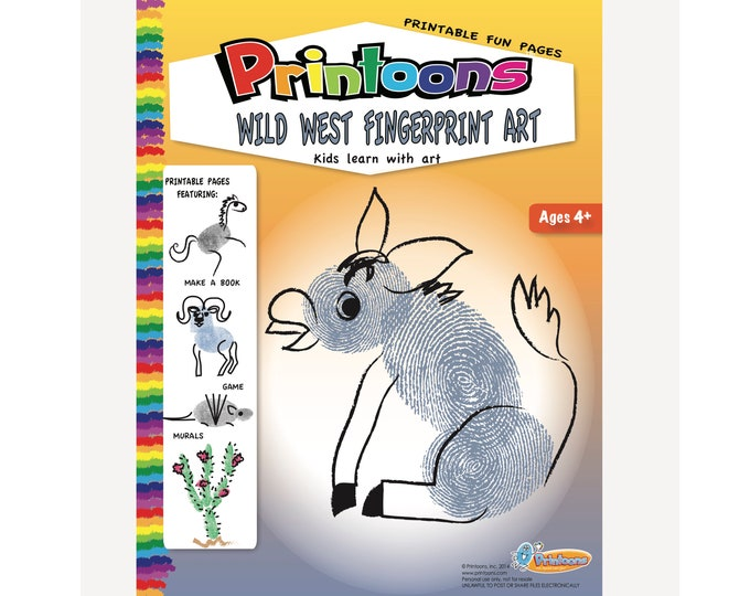 WILD WEST FINGERPRINT Art Digital Download Kit, Southwest Habitat Worksheets, Western Art Diy, Wild West Kids Crafts, West Diy Book & Murals