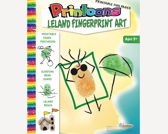 LELAND THUMBPRINT ART, Lake Michigan Fingerprint Art, Sleeping Bear Dunes Fingerprint Art Kit, Sleeping Bear Dunes Art, Michigan Vacation