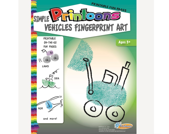 VEHICLES THUMBPRINT Art, Cars & Trucks Fingerprint Art Digital Download Kit, Vehicles Worksheets, Preschool Worksheets Vehicles, Vehicle Diy