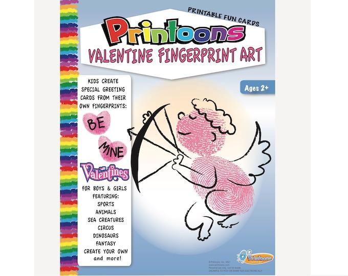 VALENTINE CARDS, Digital Download Valentines, Make your own Valentine, Fingerprint Art Valentines, Personal Touch Valentines
