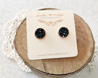 Black druzy studs with rose gold plated setting