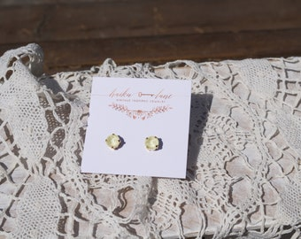 Swarovski crystal earrings - pale yellow- surgical steel - rose gold plated - bridesmaid gift - gift for her - boho - vintage -