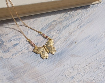 Whimsical butterfly necklace - vintage inspired - rose gold crystals - long boho necklace - haiku lane - antique - insect jewelry - wing