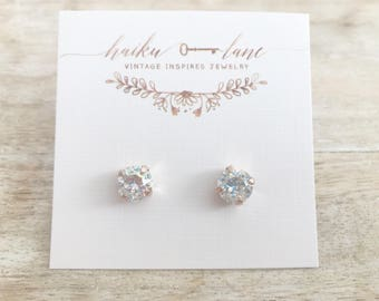 Swarovski crystal earrings - irridescent- surgical steel - rose gold plated - bridesmaid gift - gift for her - boho - vintage -