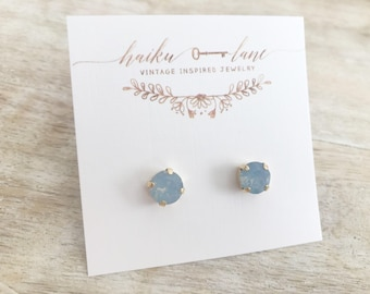 Swarovski crystal earrings - blue opal- surgical steel - gold plated - bridesmaid gift - gift for her - boho - vintage -