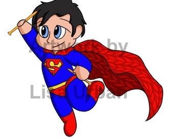 Even Superman Knits - 5x7 print