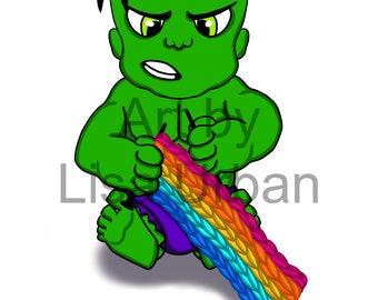 Even Hulk Knits  - 5x7 print