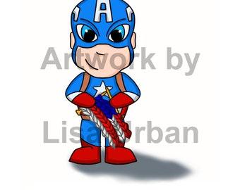 Even Captain America Knits - 5x7 print