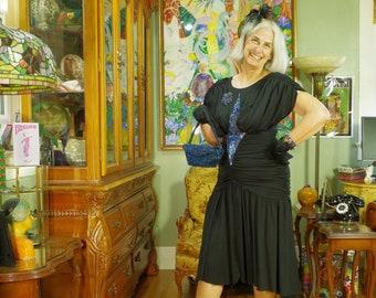 80's LBD Vamp Party Dress . Slinky Black Jersey . Iridecsent Art Deco Beading . Travilla Dallas . CASADEI Electra label . Witch Costume .