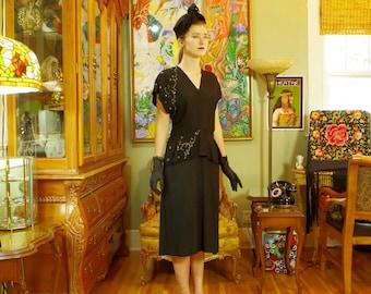 Vintage 40s Black Crepe Cocktail Dress . Film Noir Mystery Woman Lbd . Night Sky Black & Silver Galaxy Sequin Accent. Peplum Flounce. sz 12