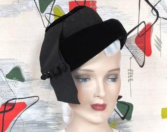 Vintage 1960's Hat . Retro Black Velvet Tipster . Chic High Crown Roller Brim . Ribbon Banners . Knotted Cord Dangles .  Sakowitz label .