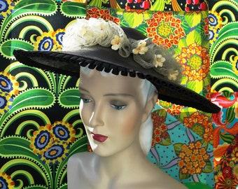 Vintage 1930's Black Picture Sun Hat. Handwoven Linen Like Straw. Bandeau. Horsehair Lace Ruffle Pleated Ribbon Trim. Orange Blossom Silks.