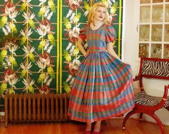 Vintage 40s Swing Dress.Rainbow Plaid Taffeta.Full Circle Midi Skirt.Ruffle Chiffon Inset Collar.Puffy Sleeves. Gone with the Wind. Romantic