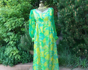 Vintage 1970's Green Hostess Gown Romantic Maxi Dress Floral Emerald Blue Lime Lemon Chiffon  over Satin Retro Prom or Wedding Party Dress