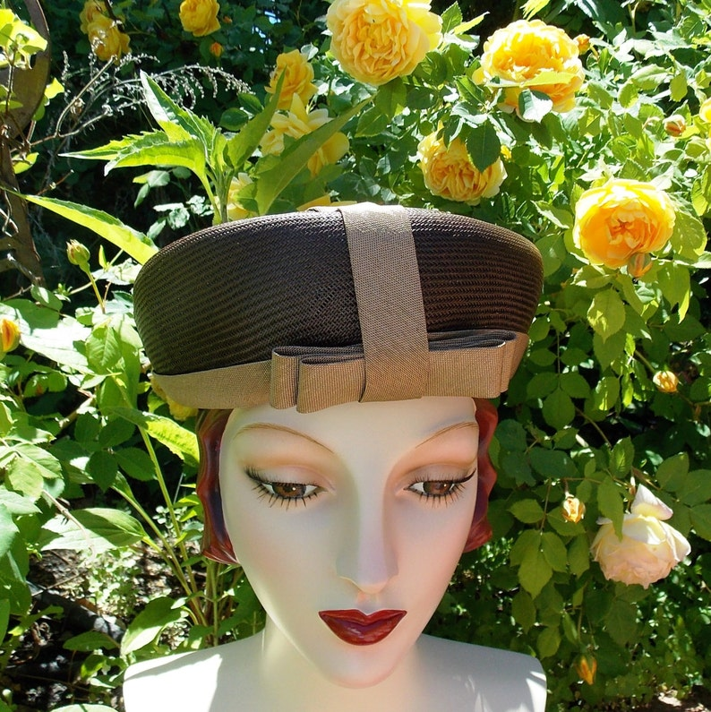 Sweet 60's Vintage Toque Hat . Chocolate Brown Straw image 0