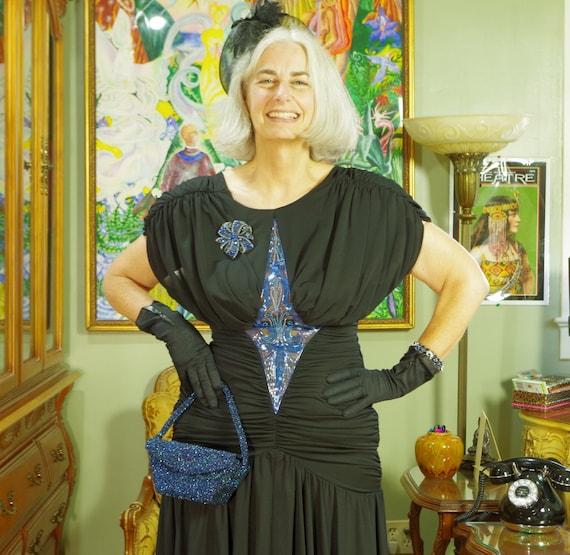 80's LBD Vamp Party Dress . Slinky Black Jersey .… - image 3