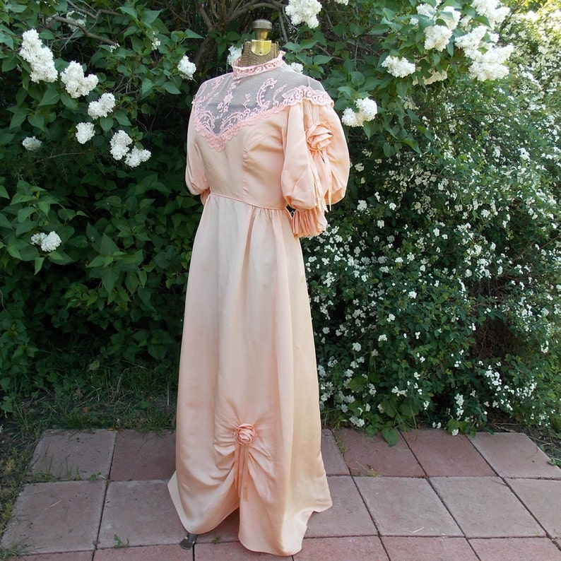83b67acb6 Romantic Vintage 70 s Peach Gown. Retro