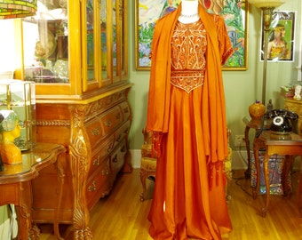 Exotic 80's Boho Copper Satin Embroidered Hostess Gown . Dancing Girl Goddess Costume. 3 Piece Blouse / Skirt / Shawl . Unique Formal. sz 14