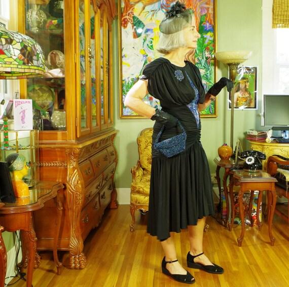 80's LBD Vamp Party Dress . Slinky Black Jersey .… - image 4