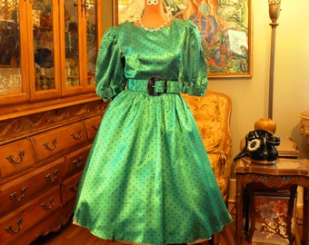 Vintage Green Satin Black Polka Dot Party Dress . 80's does 50's Rockabilly Swing . Attached Black Tulle Petticoat . Emerald Fantasy .