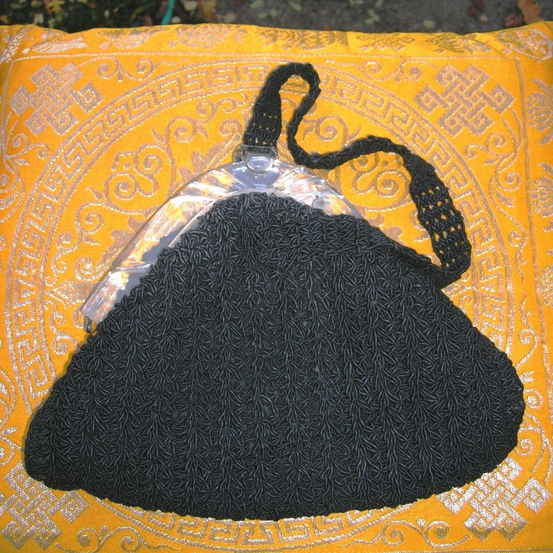 Vintage 1940's Lucite Crocheted Purse Black late image 0
