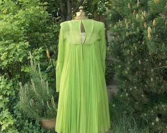 Emma Domb Lime Green Trapeze Party Dress . 60s Vintage Chiffon Sheath . Pleated Flowing Back .  Elegant & Sophisticated .  Mad Men Cocktail