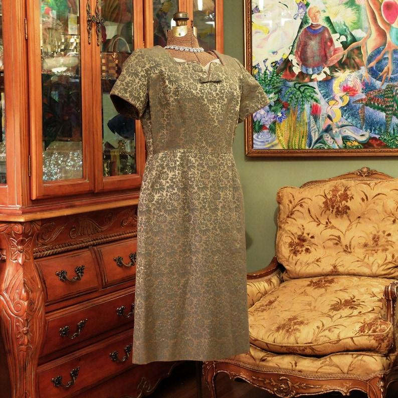 50's Secretary Sexy Vintage Wiggle Dress. Bronze & Olive image 0