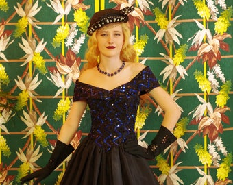 Retro Jessica McClintok Party Dress.Vintage 80's does 50's. Black Taffeta Swing Skirt.Blue & Black Sequin Bodice.Portrait Collar. sz7-8.Prom