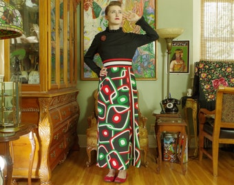 Vintage 70s Op Art Mod Maxi Gown . Geek Gal Glamour . Digital Orange-Red Green White Design Skirt . Chic Retro Black Knit Bodice .R&K Knits