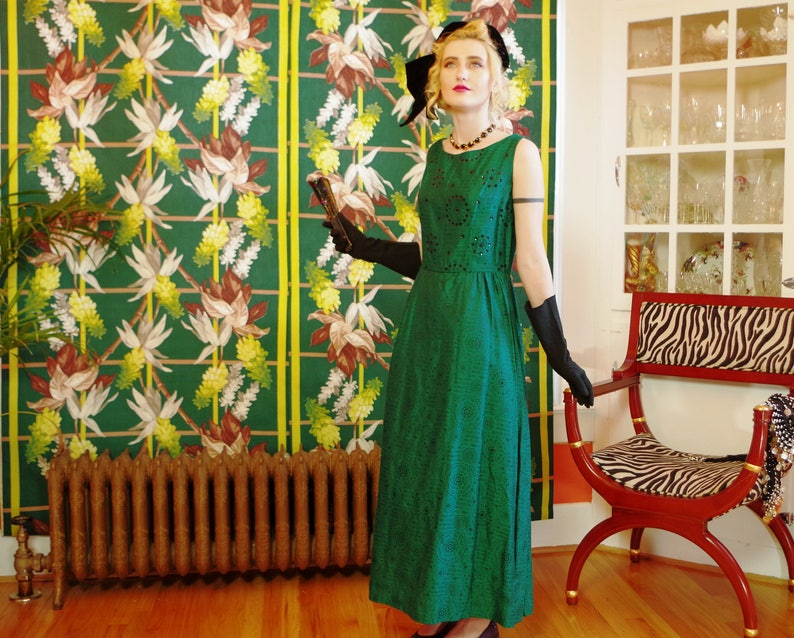 60's Green Goddess Gown.Vintage Emerald Jewel Tone Brocade image 0