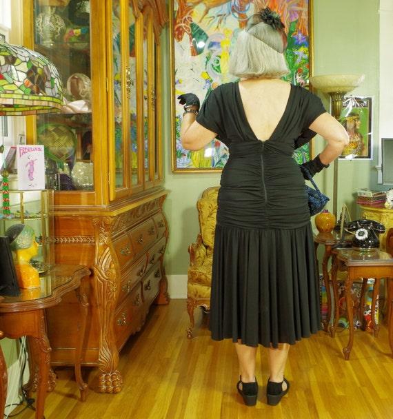 80's LBD Vamp Party Dress . Slinky Black Jersey .… - image 5