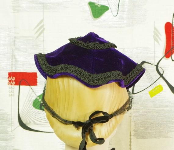 Purple Velvet Pixie Vintage 40's Hat. Lampshade N… - image 8