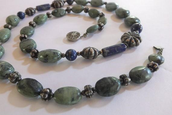 Green Zebra Jasper and Lapis Lazuli Bead Necklace