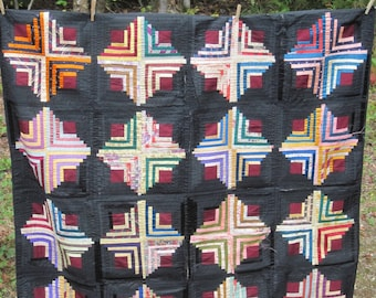 Diamond in the Square Log Cabin Silk Quilt