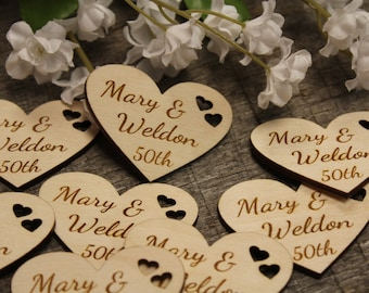Gift Personalized Hearts 2 inch 10 Hearts Wedding Anniversary Wood Hearts Heart Favors Heart Tag Valentines Day Party Heart Tags