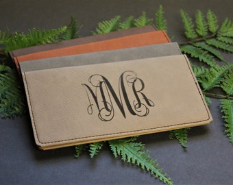 Personalized Faux Leather Checkbook Cover, Check Book Pocket, Engraved Checkbook Cover, Check Book Cover