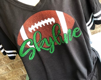 29c093329 Custom Team Name Glitter Football T-Shirt, Football Shirt, Football Mom, Football  Mom Tee, Football bling Shirt, Gameday Shirt
