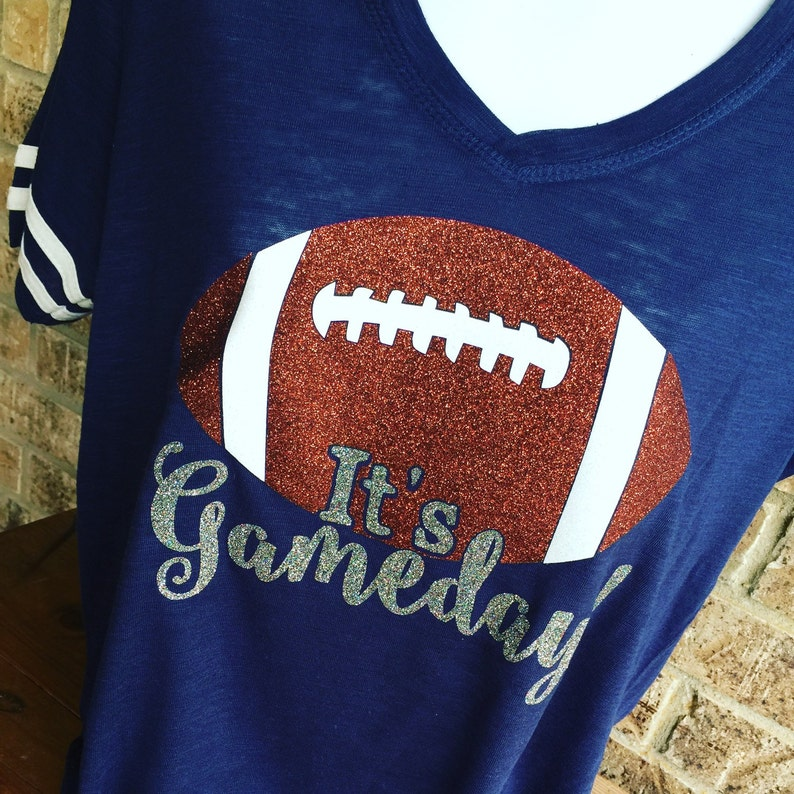 V Neck It s Gameday Glitter Football T-Shirt FRONT ONLY  07a10dc0b