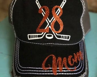 Customized Hockey Cap, Hockey Mom Baseball Cap, Hockey Mom Hat, Sports Mom Cap
