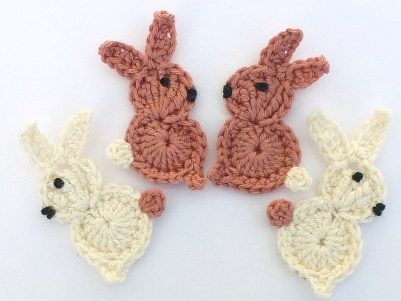 Crochet applique crochet rabbits 4 small easter bunnies etsy