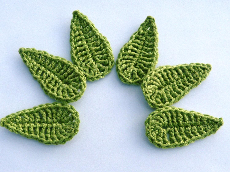 Crochet Crochet Applique 6 Large Green Applique Leaves Etsy