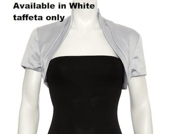 WHITE Taffeta bolero shrug size 16 UK , size 12-14 US